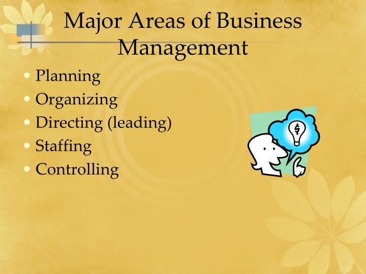 Major Areas of Business Management