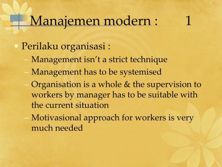 Manajemen modern :1