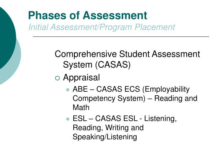 Phases of Assessment