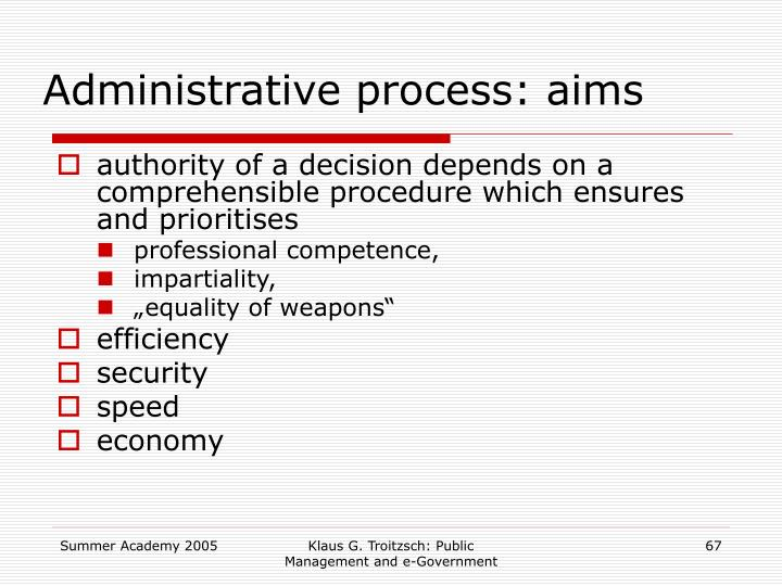 Administrative process: aims
