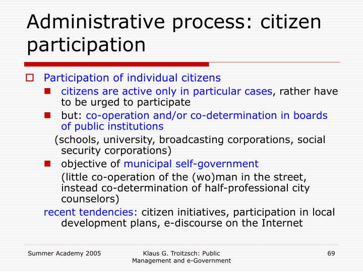 Administrative process: citizen participation