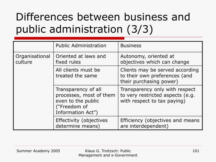 Differences between business and public administration (3/3)