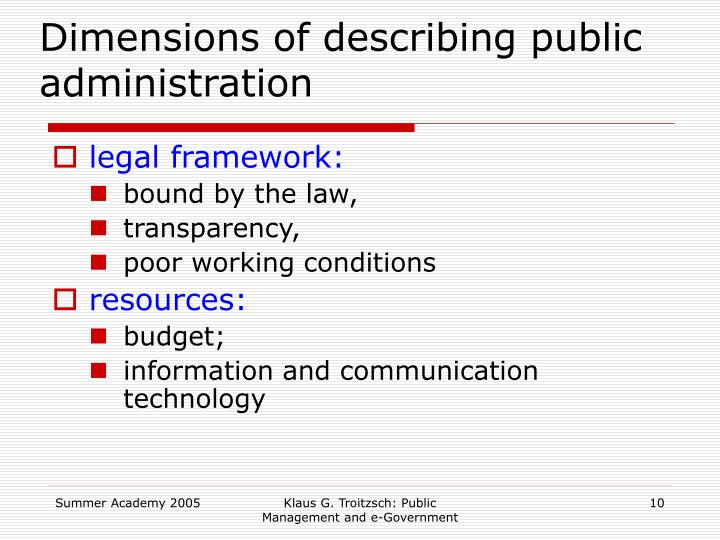 Dimensions of describing public administration