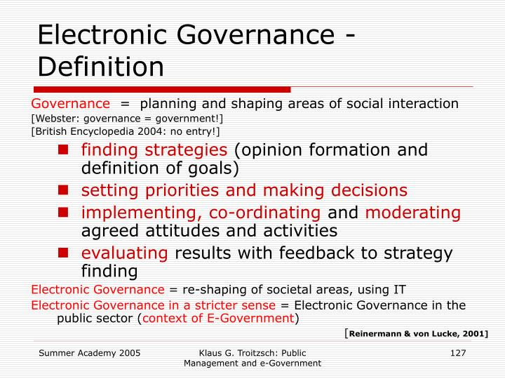 Electronic Governance - Definition