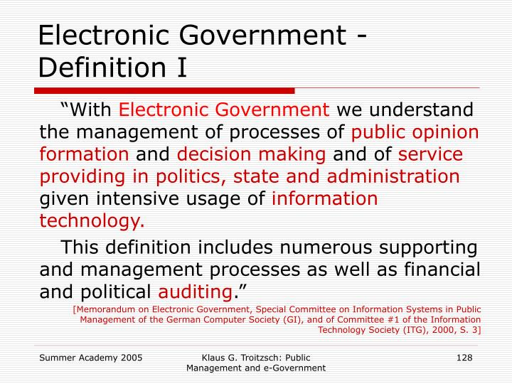 Electronic Government - Definition I