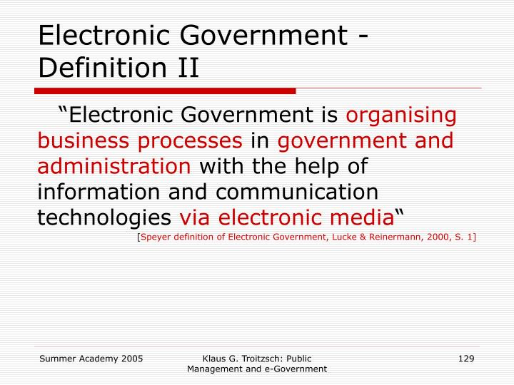 Electronic Government - Definition II