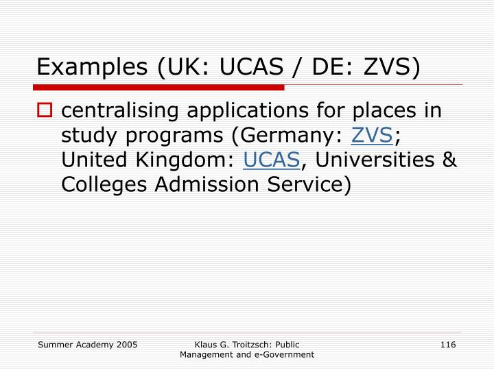 Examples (UK: UCAS / DE: ZVS)