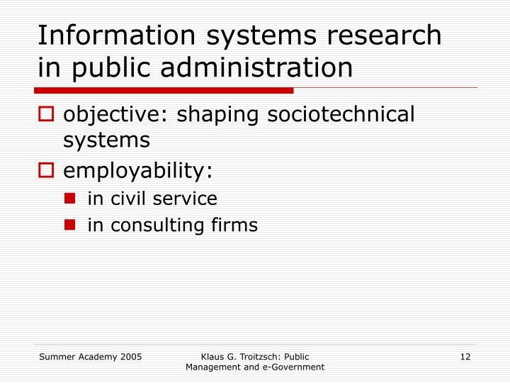 Information systems research in public administration