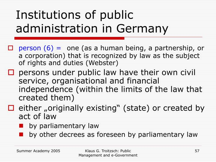 Institutions of public administration in Germany