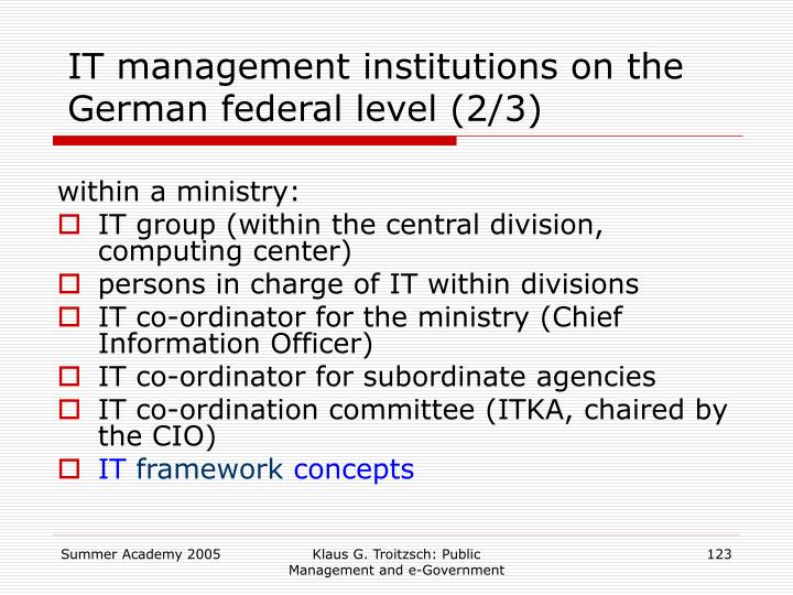 IT management institutions on the German federal level (2/3)
