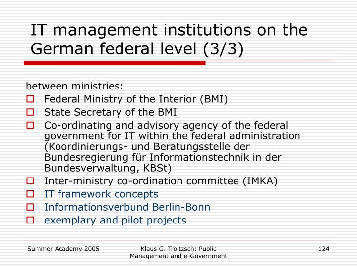 IT management institutions on the German federal level (3/3)