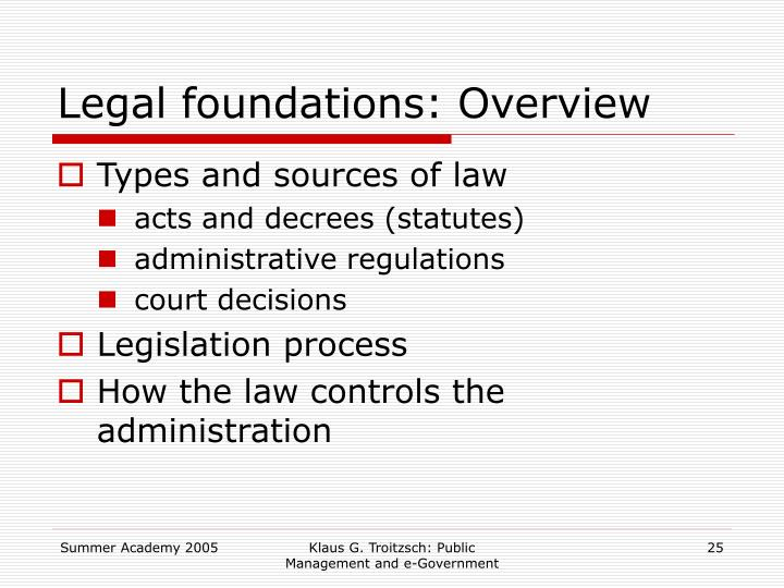 Legal foundations: Overview