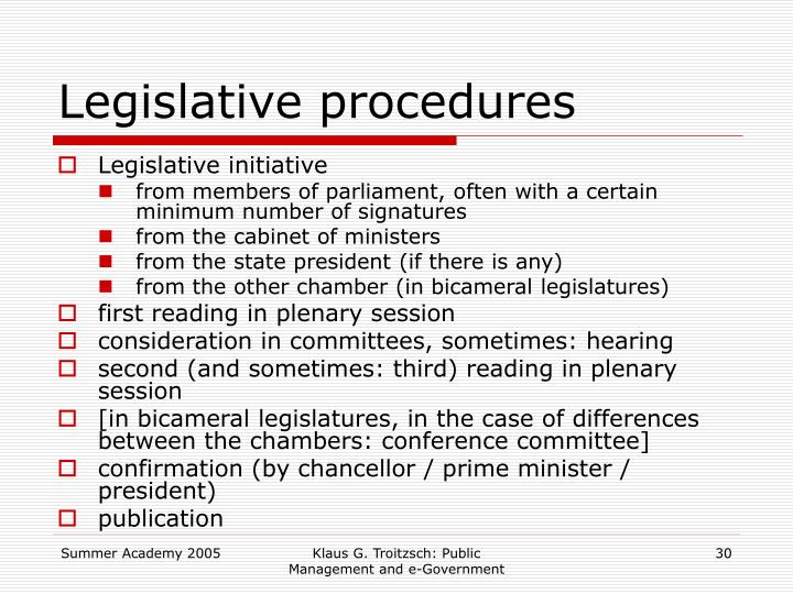 Legislative procedures