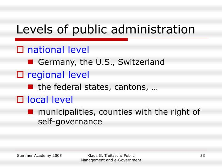 Levels of public administration