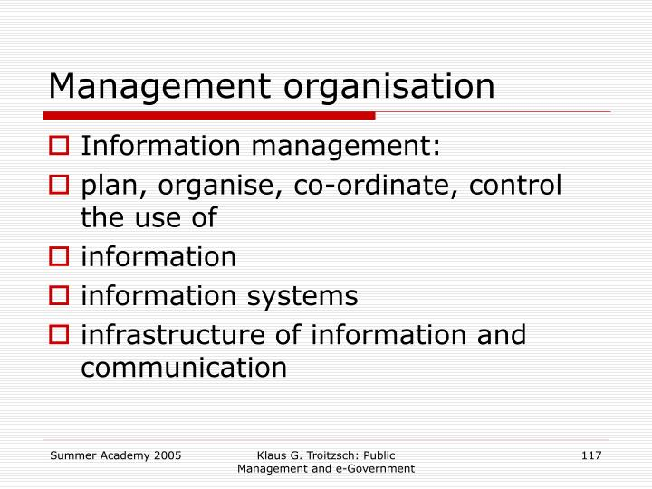 Management organisation