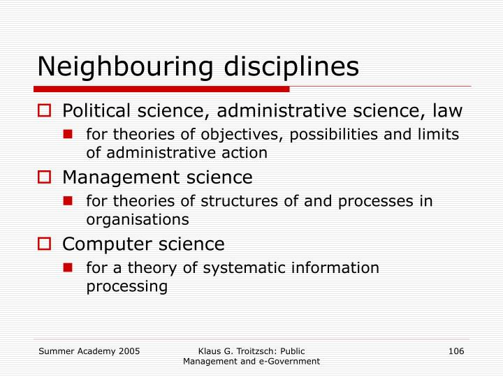 Neighbouring disciplines