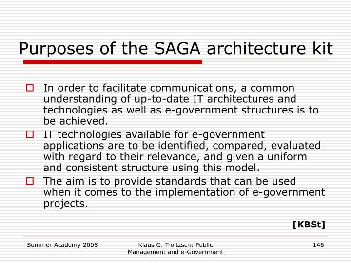 Purposes of the SAGA architecture kit