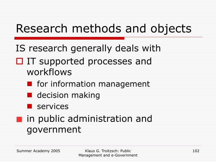 Research methods and objects