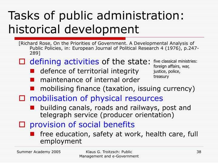Tasks of public administration: