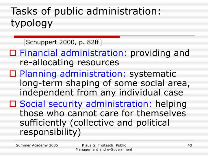 Tasks of public administration: typology