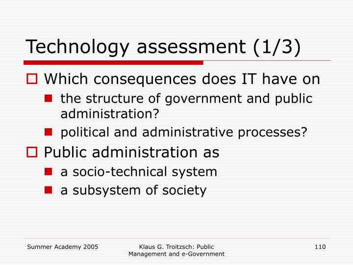 Technology assessment (1/3)