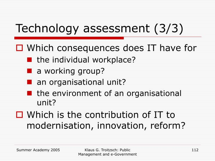 Technology assessment (3/3)