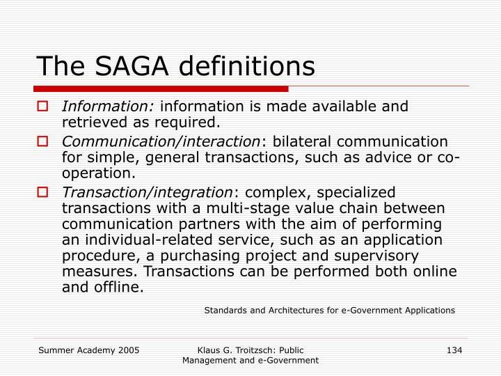 The SAGA definitions