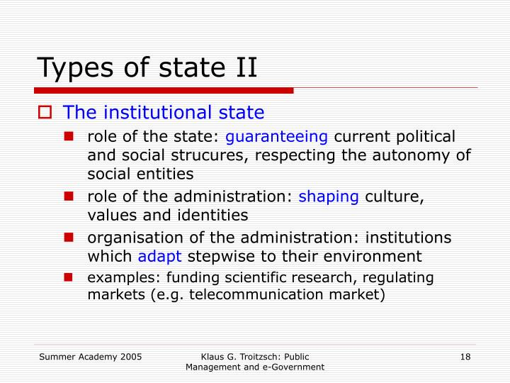 Types of state II