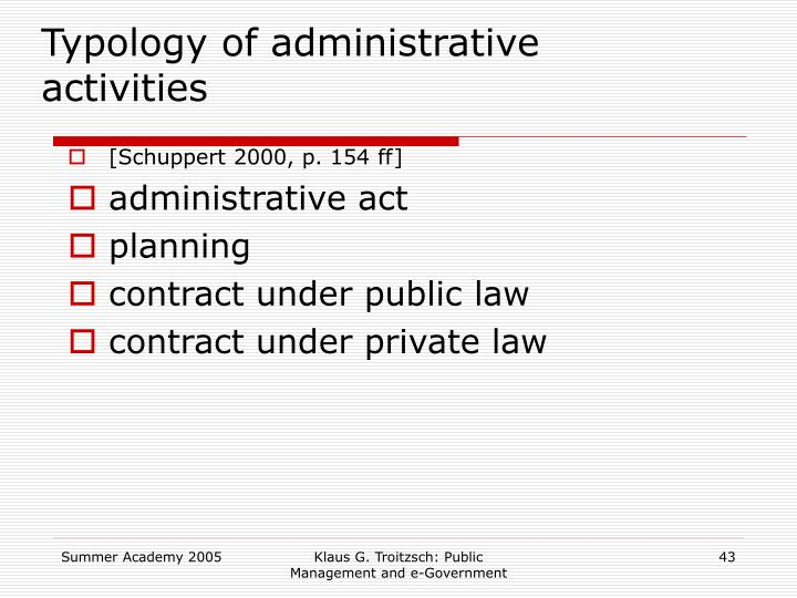 Typology of administrative activities