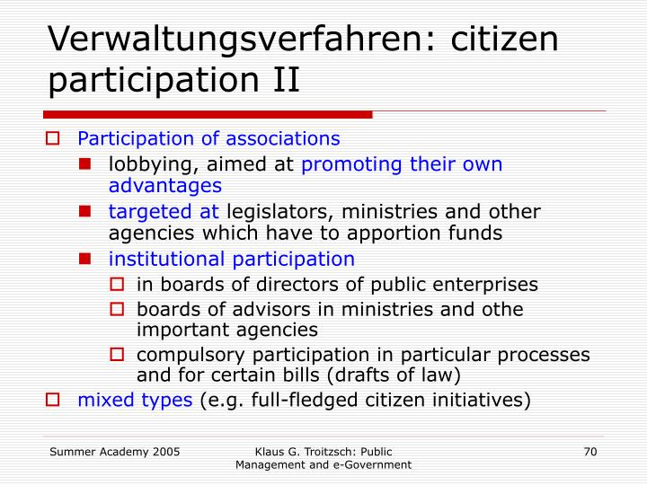 Verwaltungsverfahren: citizen participation II