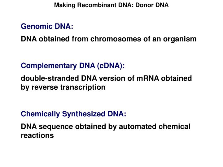 Making Recombinant DNA: Donor DNA