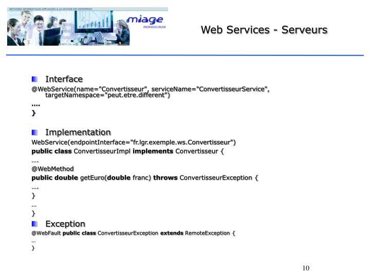 Web Services - Serveurs