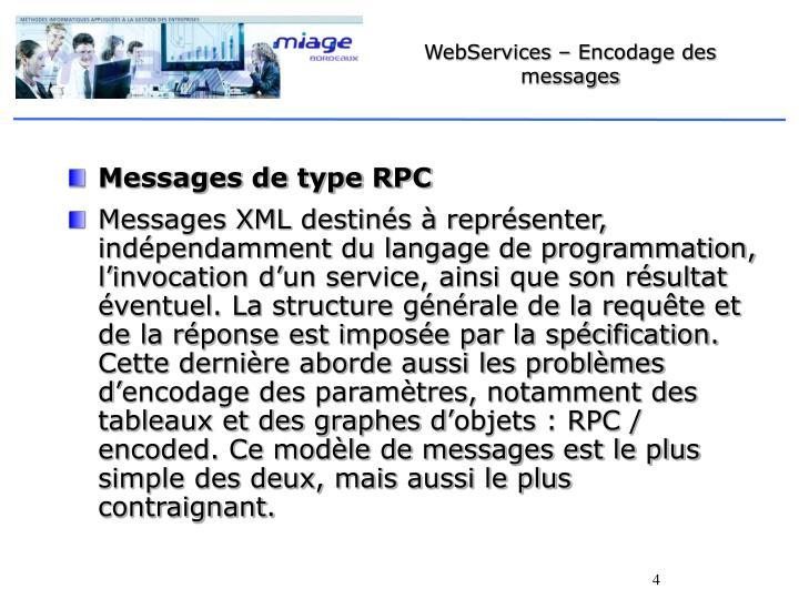 WebServices – Encodage des messages