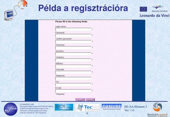 Példa a regisztrációra
