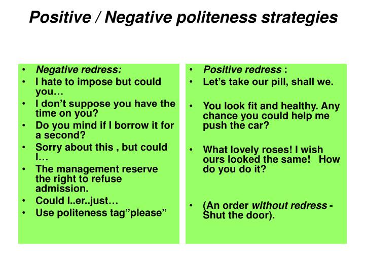 Negative redress: