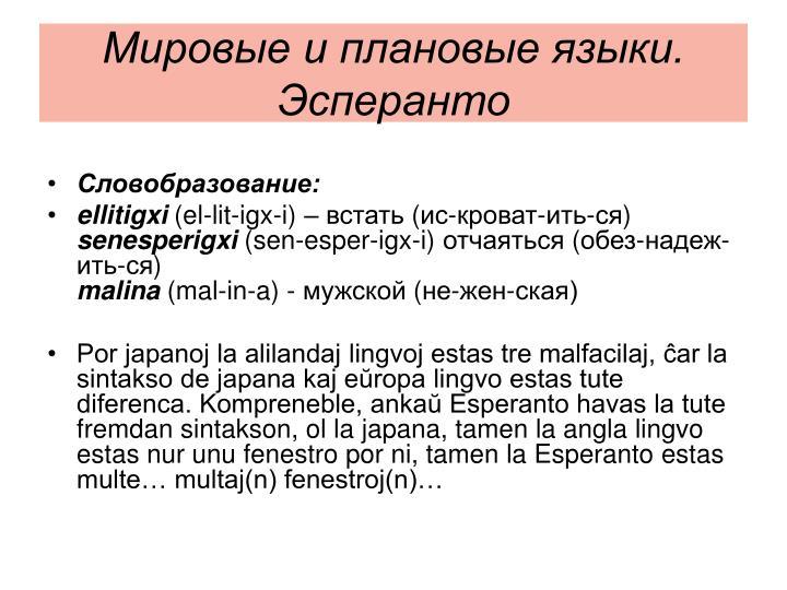 Мировые и плановые языки. Эсперанто