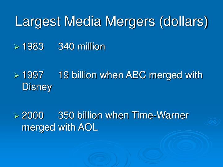 Largest Media Mergers (dollars)