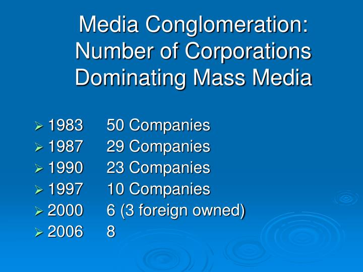 Media Conglomeration:  Number of Corporations Dominating Mass Media