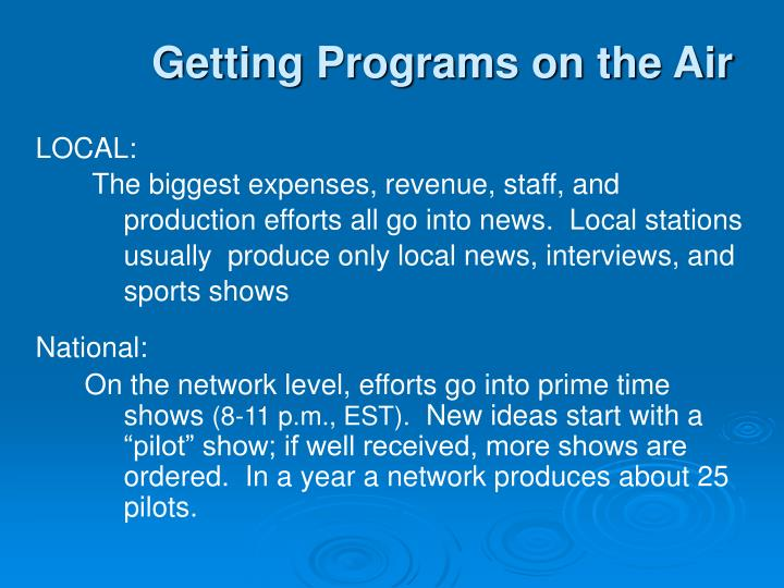 Getting Programs on the Air