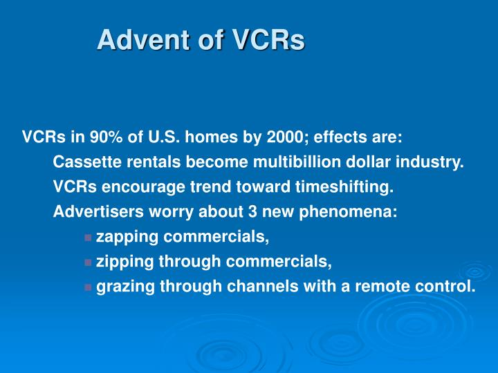 Advent of VCRs