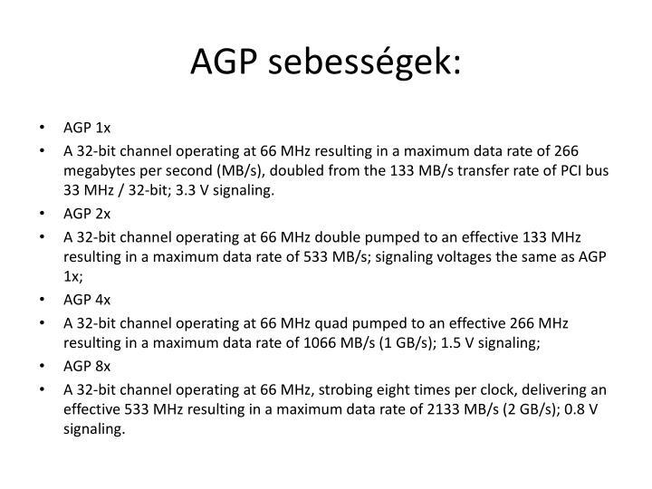 AGP sebességek: