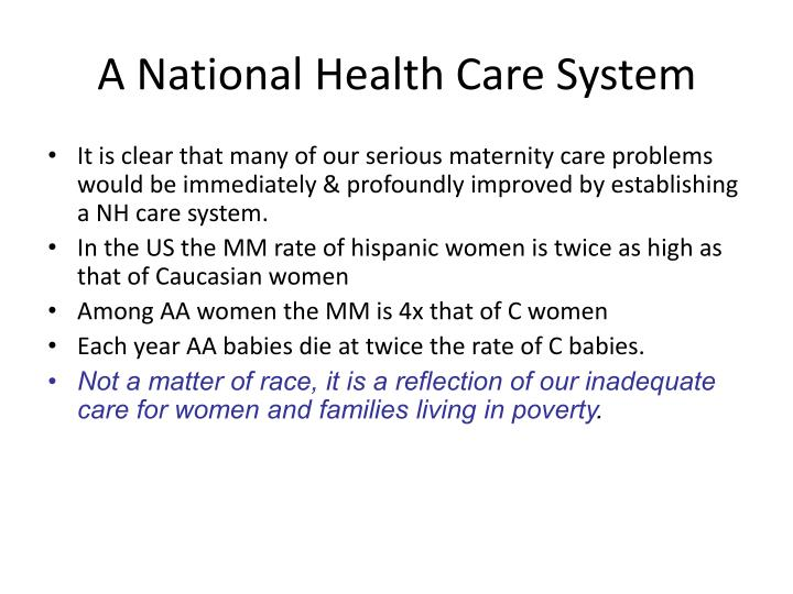 A National Health Care System