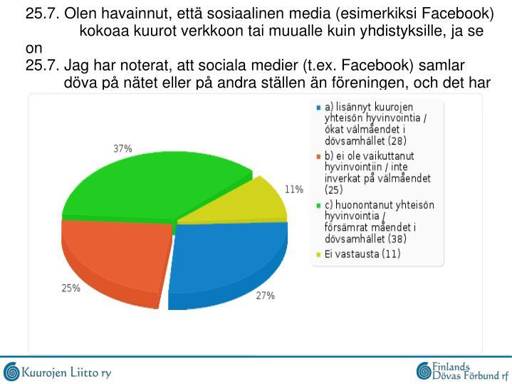 25.7. Olen havainnut, että sosiaalinen media (esimerkiksi Facebook)