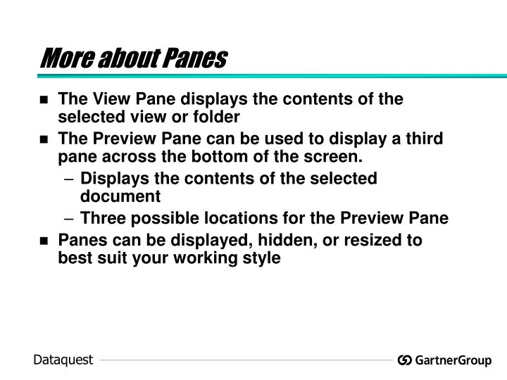 More about Panes