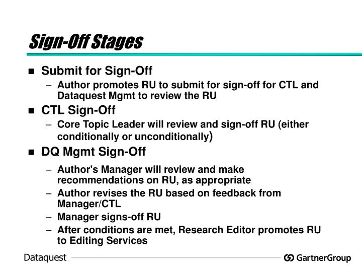 Sign-Off Stages