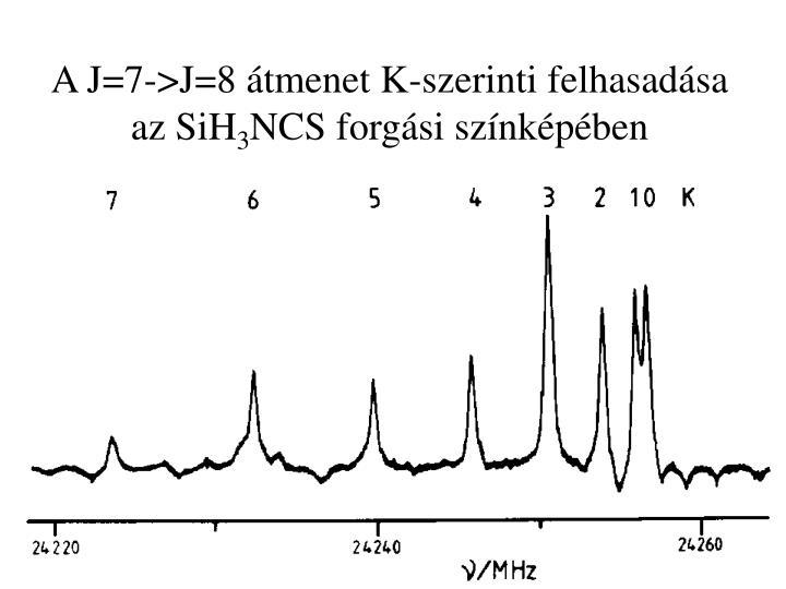 A J=7->J=8 átmenet K-szerinti felhasadása az SiH