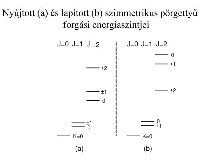 Nyújtott (a) és lapított (b) szimmetrikus pörgettyű