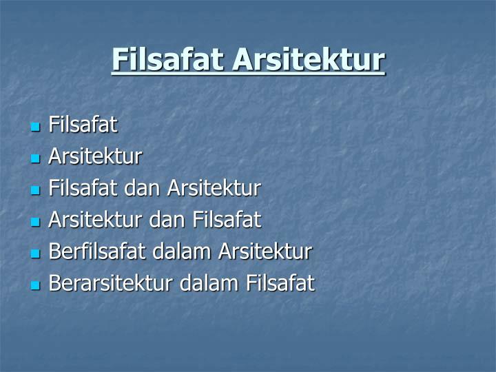 Filsafat Arsitektur