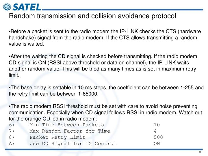 Random transmission and collision avoidance protocol