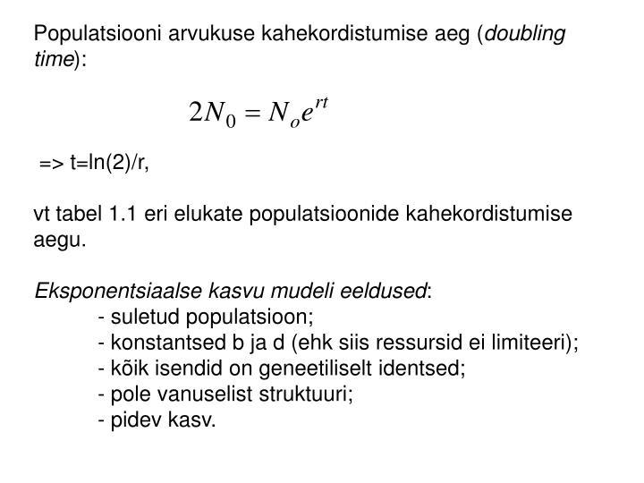 Populatsiooni arvukuse kahekordistumise aeg (